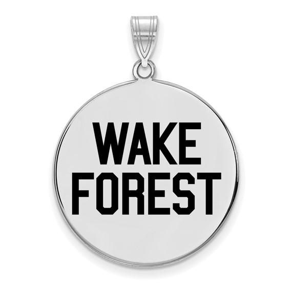 Sterling Silver 1in Wake Forest University Enamel Round Pendant