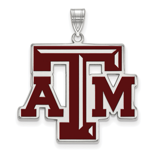 Sterling Silver 1in Texas A&M University Enamel Pendant