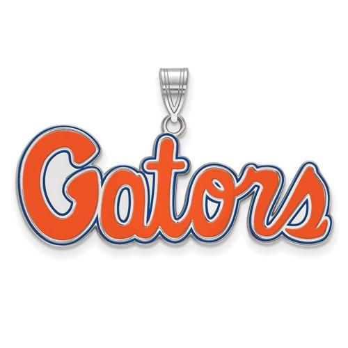 Sterling Silver 5/8in University of Florida Enamel Gators Script Pendant