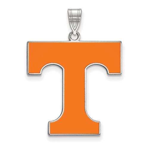 Sterling Silver 1in University of Tennessee T Enamel Pendant