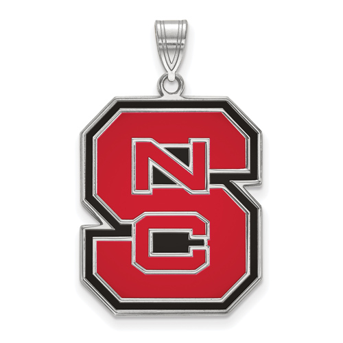 Sterling Silver 1in North Carolina State University Block S Enamel Pendant