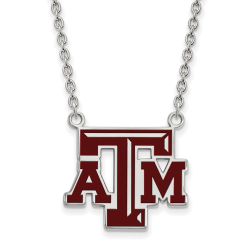 Sterling Silver Texas A&M University Enamel Pendant with 18in Chain