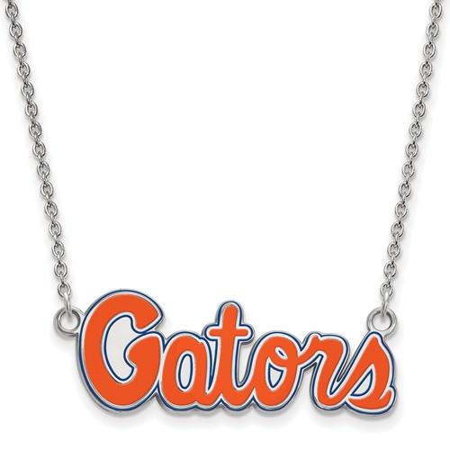 Sterling Silver 1/2in University of Florida Gators Script Enamel Pendant with 18in Chain