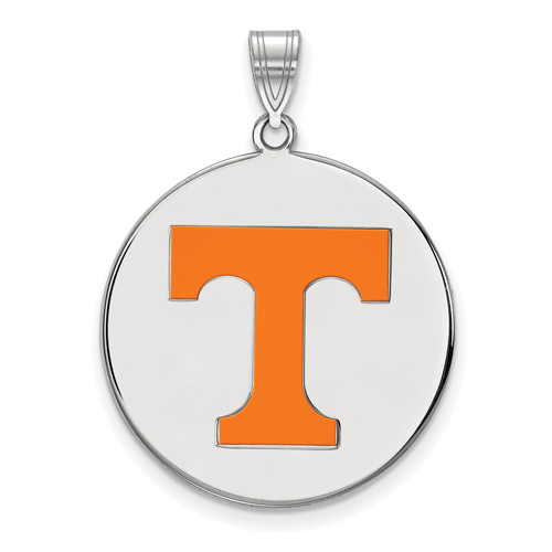 Sterling Silver 1in Round University of Tennessee T Enamel Pendant