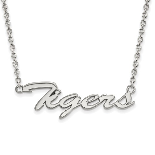 Silver Louisiana State University Tigers Pendant with 18in Chain