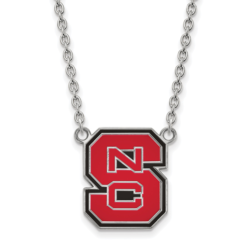 Sterling Silver North Carolina State University Enamel Pendant with 18in Chain