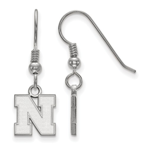 Sterling Silver University of Nebraska N Extra Small Dangle Earrings