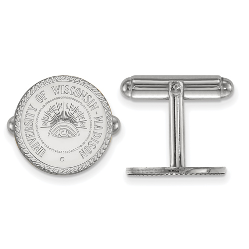 Sterling Silver University of Wisconsin Crest Cuff Links