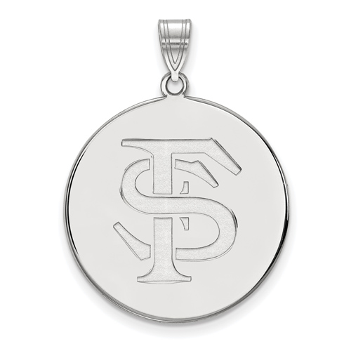 Sterling Silver 1in Florida State University Disc Pendant