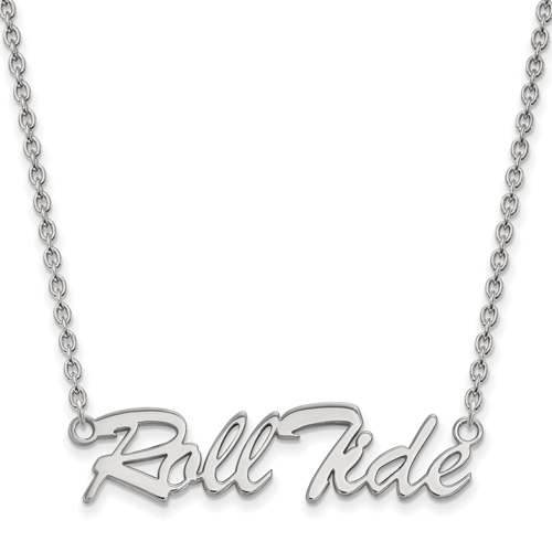 Sterling Silver Roll Tide Pendant with 18in Chain