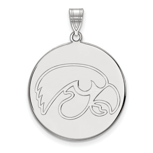 10k White Gold 1in University of Iowa Disc Pendant