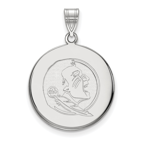 Sterling Silver 7/8in Florida State University Seminole Disc Pendant