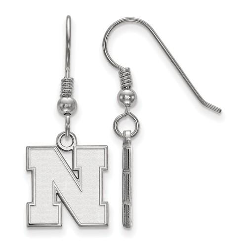 Sterling Silver University of Nebraska N Dangle Wire Earrings