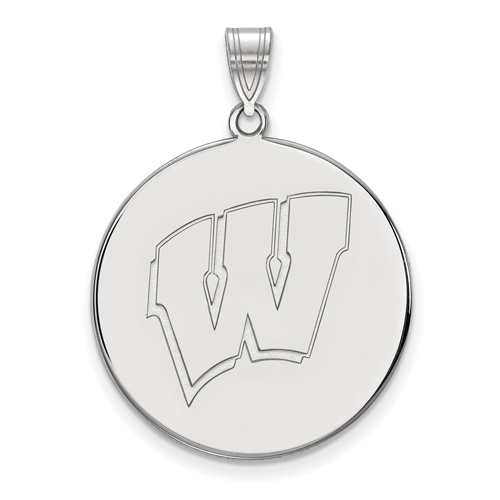 Sterling Silver 1in University of Wisconsin W Round Pendant