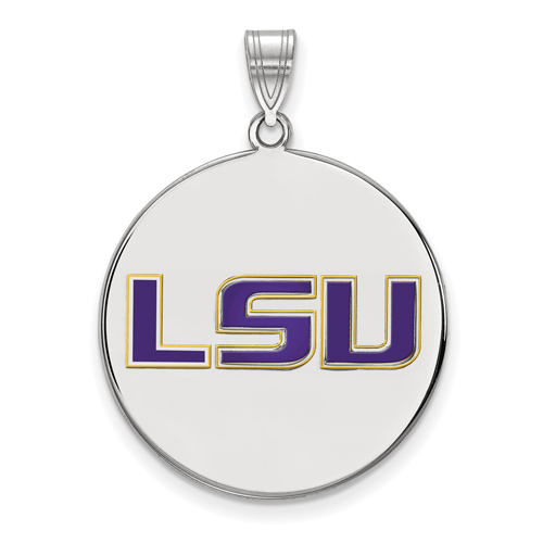 Sterling Silver 3/4in Louisiana State University Round Enamel Pendant