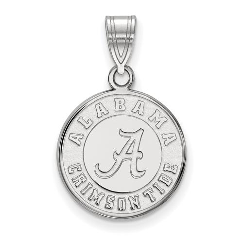 Sterling Silver 5/8in Round University of Alabama Crimson Tide Pendant