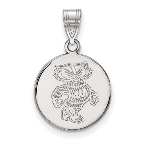 Sterling Silver 5/8in University of Wisconsin Badger Disc Pendant