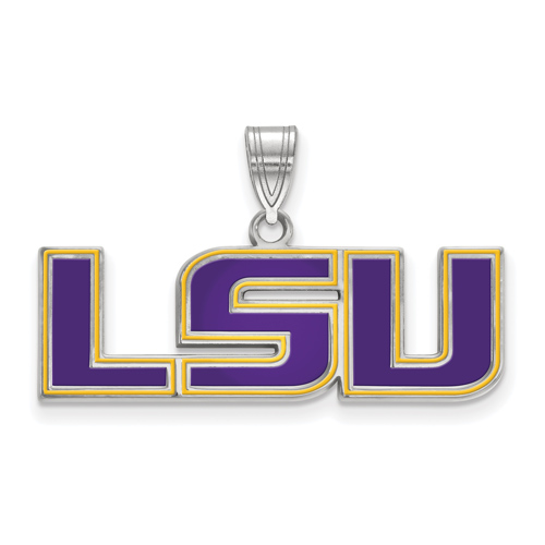 Sterling Silver 1/2in Louisiana State University LSU Enamel Pendant