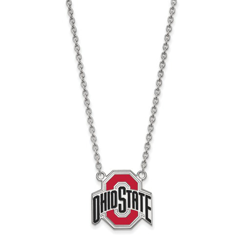 Silver 3/4in Ohio State University Enamel Pendant with 18in Chain