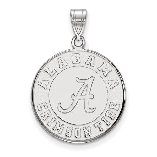 Sterling Silver 3/4in University of Alabama Crimson Tide Disc Pendant