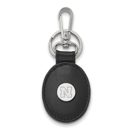 Sterling Silver University of Nebraska N Black Leather Oval Key Chain
