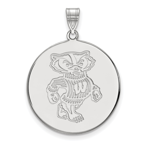 Sterling Silver 1in University of Wisconsin Badger Round Pendant