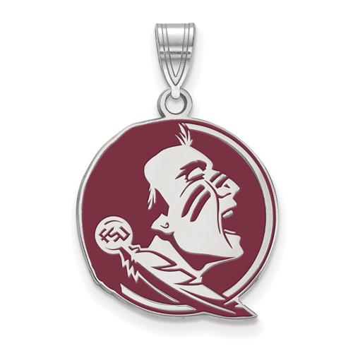 Sterling Silver 3/4in Florida State University Seminole Enamel Pendant