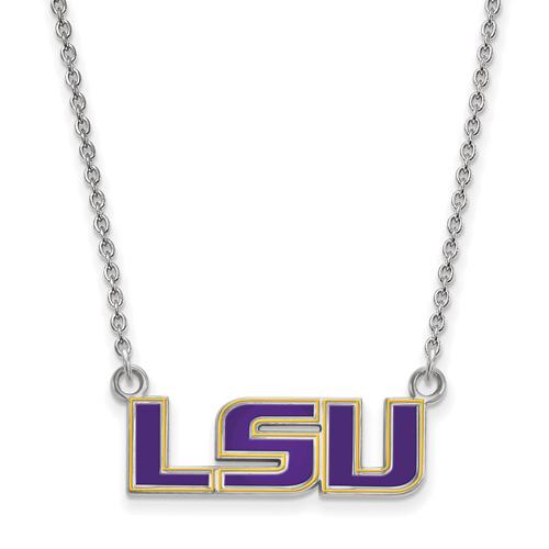 Sterling Silver 3/8in LSU Enamel Pendant with 18in Chain