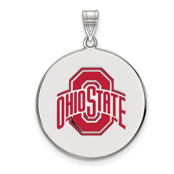 Sterling Silver 1in Ohio State University Logo Duo Enamel Disc Pendant