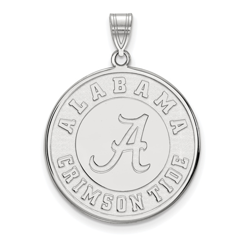 Sterling Silver 1in University of Alabama Crimson Tide Round Pendant