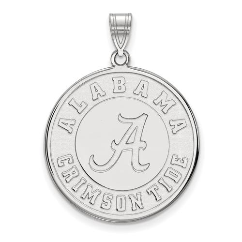 Sterling Silver 1in University of Alabama Crimson Tide Round Pendant