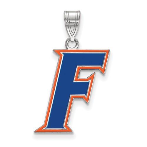 Sterling Silver 3/4in University of Florida F Enamel Pendant