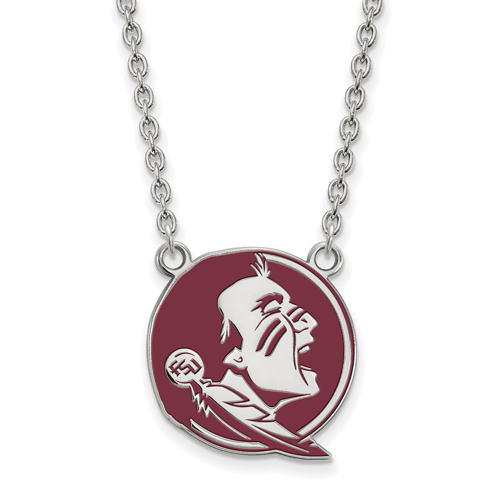 Silver Florida State University Enamel Pendant with 18in Chain