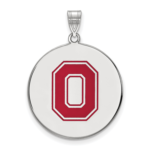 Sterling Silver 1in Ohio State University Block O Enamel Disc Pendant