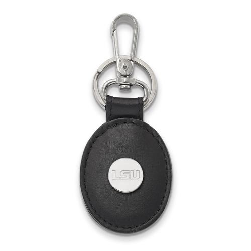 Silver Louisiana State University Black Leather Oval Key Chain