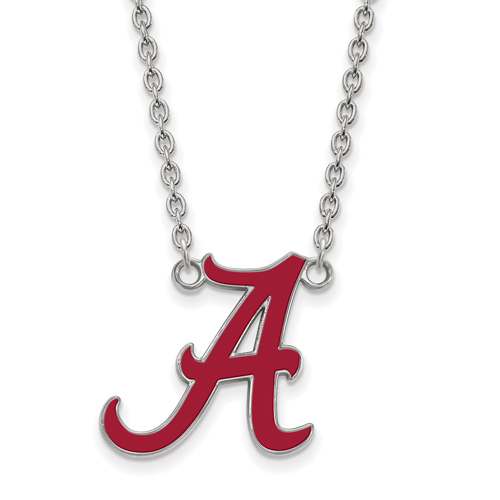 Silver University of Alabama Red Enamel Pendant with 18in Chain