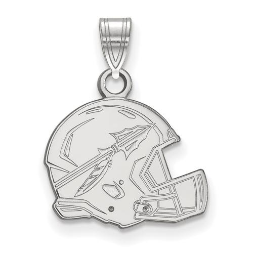 10kt White Gold 1/2in Florida State University Helmet Pendant
