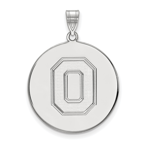Sterling Silver 1in Ohio State University Block O Disc Pendant