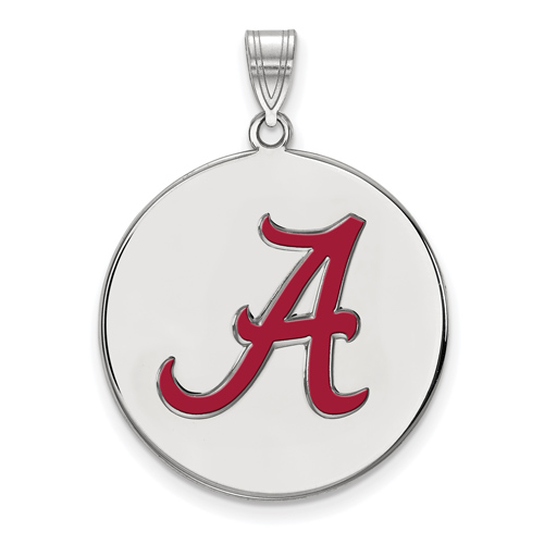 Sterling Silver 1in University of Alabama Round A Enamel Pendant