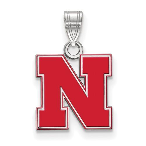 Sterling Silver 1/2in University of Nebraska N Red Enamel Pendant