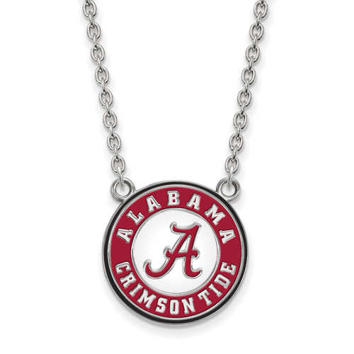 Sterling Silver University of Alabama Crimson Tide Enamel Pendant with 18in Chain