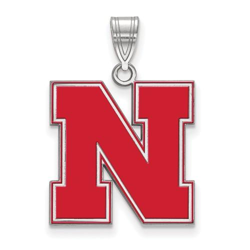 Sterling Silver 3/4in University of Nebraska N Enamel Pendant