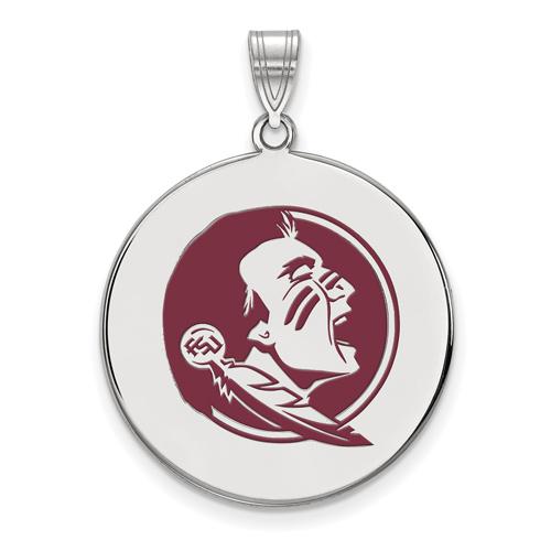 Sterling Silver 3/4in Florida State University Seminole Enamel Disc Pendant