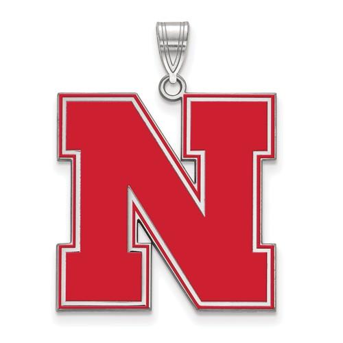 Sterling Silver 1in Round University of Nebraska N Enamel Pendant