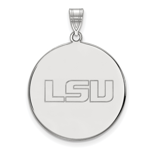 Sterling Silver 1in Louisiana State University LSU Round Pendant
