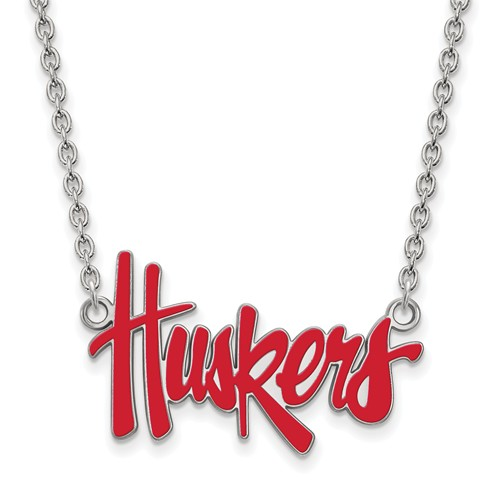 Silver University of Nebraska Huskers Enamel Pendant and 18in Chain