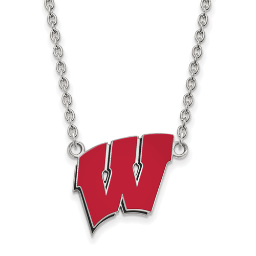 Sterling Silver University of Wisconsin W Red Enamel Pendant with 18in Chain