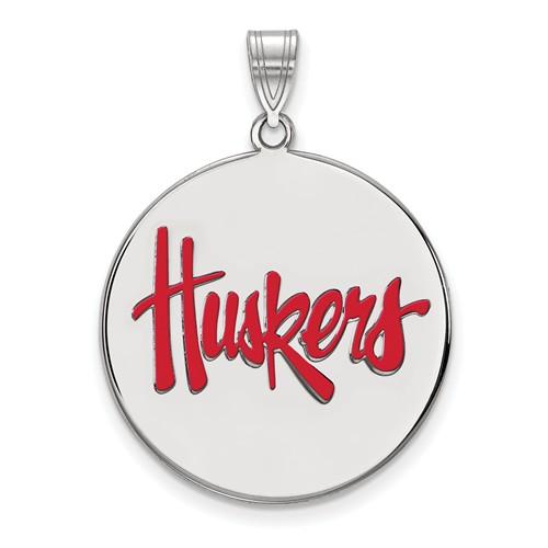 Sterling Silver 1in University of Nebraska Huskers Enamel Pendant