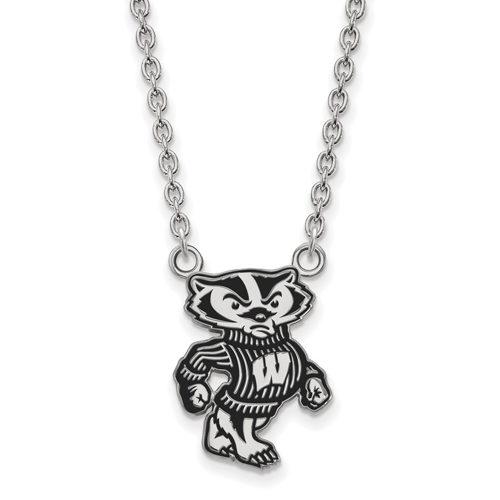 Silver University of Wisconsin Badger Enamel Pendant with 18in Chain