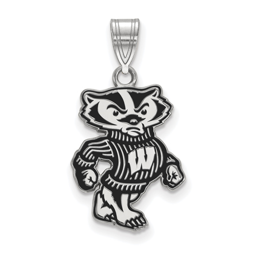 Sterling Silver 3/4in University of Wisconsin Badger Pendant